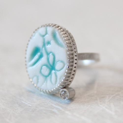 Ring »Blumen«, Porzellan