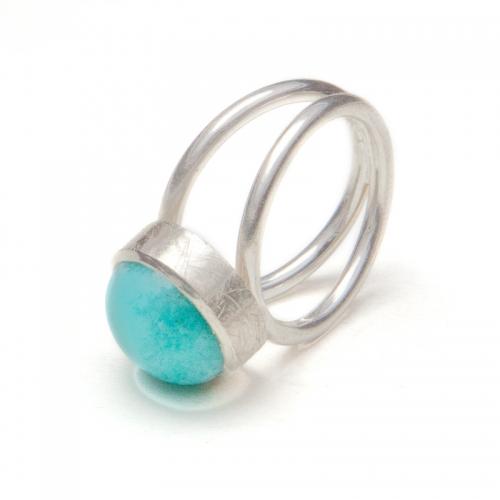 Ring Bubbles, Amazonit, Doppelschiene